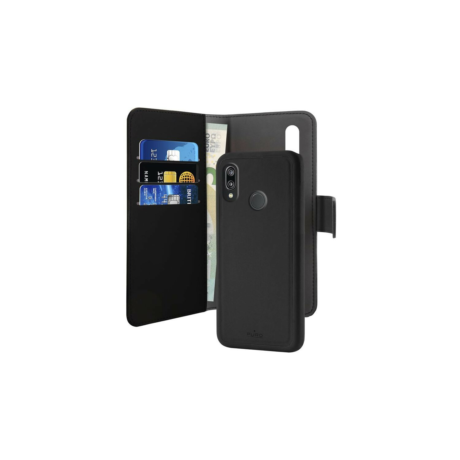 Etui PURO Wallet Detachable - 2w1 do Huawei P30 Czarny HWP30BOOKC3BLK