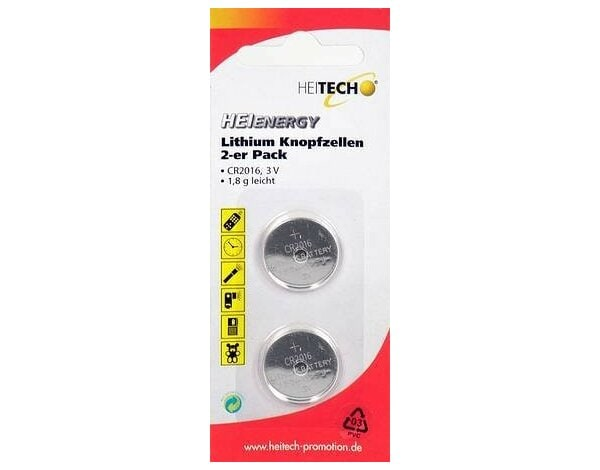 Bateria HEITECH Heienergy Lithium Button Cells 2 pc. pac. CR2016