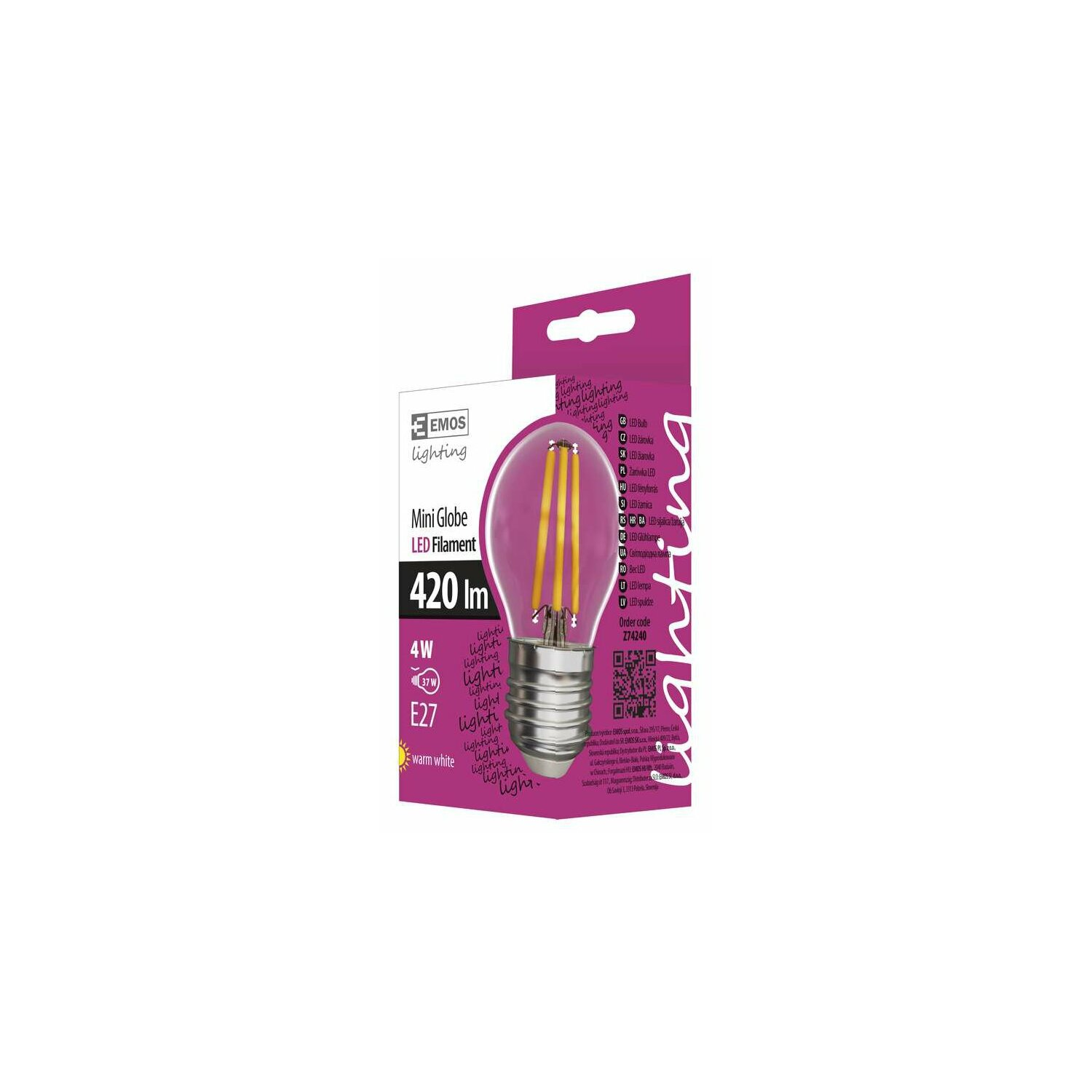 Żarówka LED EMOS Filament mini globe 4W E27 WW Z74240