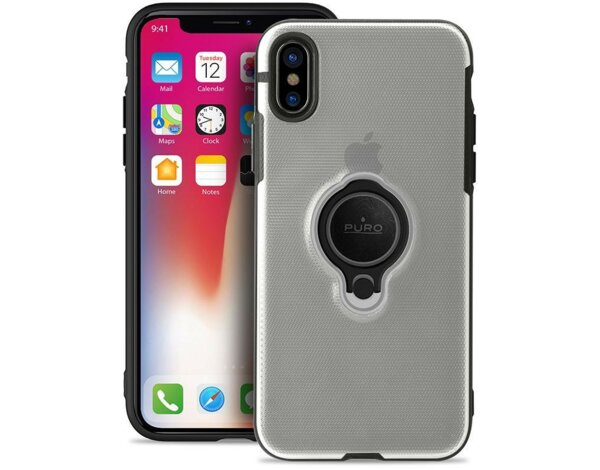 Etui PURO Magnet Ring Cover do Apple iPhone XS/X Przezroczysty IPCXCMAGRINGTR